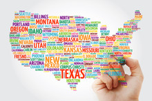 USA Map Word Cloud With Marker...