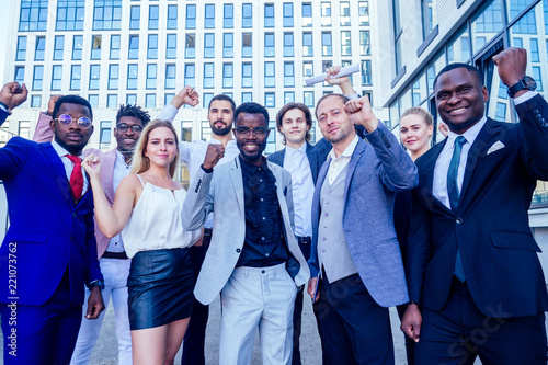 multinational and multiethnic corporate business people boss and colleagues part Slika na platnu