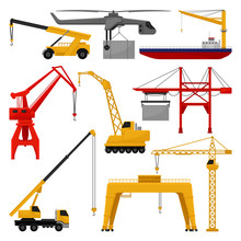 Flat Vector Of Different Cranes. Mechanism For Lifting And Moving Of Objects. Professional Construction And Loading Machines