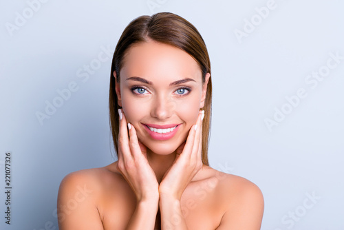 Fototapety, obrazy: Portrait of cute charming girl demonstrate soft smooth face skin