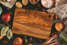 Empty Cutting Board And Ingredients For Baking