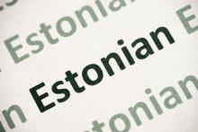 Word Estonian Language Printed On Paper Macro