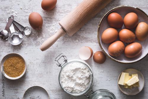 Obraz na plátně Ingrédients pour la Préparation d'un Gâteau