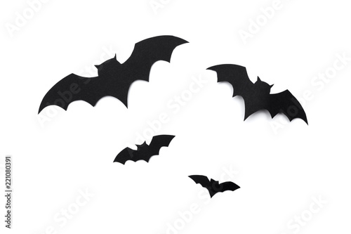 Canvastavla halloween and decoration concept - paper bats flying