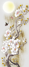 A Fairy Tree With White Flowers, Two Butterflies, A Full Moon