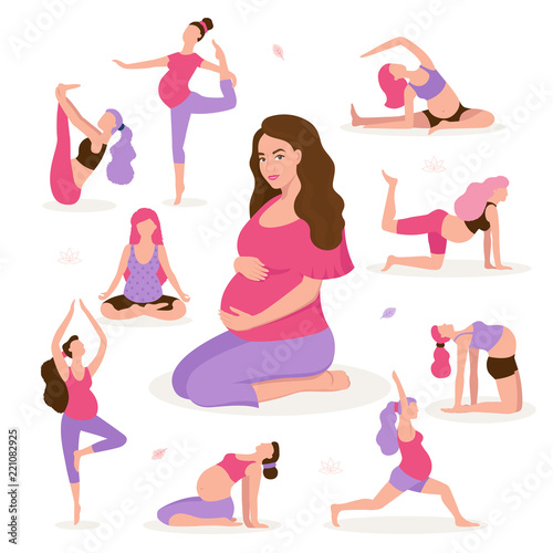 Photographie Pretty pregnant woman doing yoga, having healthy lifestyle and relaxation, exercises for pregnant women vector flat illustration