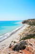 Beautiful landscape with blue clear sky and azure sea in sunny summer day not far from the city of Paphos in Cyprus