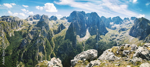 Poster Bergen panorama of mountains in national park Prokletije in Montenegro