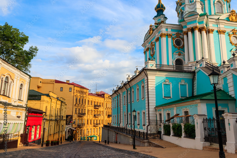 Fototapety, obrazy: Andriyivskyy Descent (literally: Andrew's Descent) is a historic descent connecting Kiev's Upper Town neighborhood and the historically commercial Podil neighborhood. Kiev, Ukraine