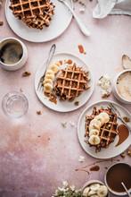 Chocolate Chip Banana Breakfast Waffles With Caramel Sauce