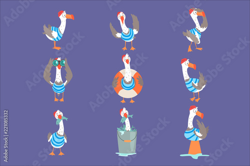 Funny cartoon seagull showing different actions and emotions set, cute comic bir Poster Mural XXL