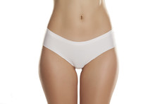 Front View Of Female Hips With White Panties On White Background