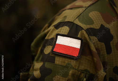 Fotografía  Polish patch flag on soldiers arm
