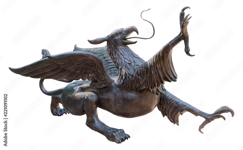 Statue of a Griffin, isolated with clipping path on white background