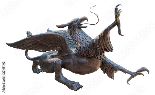 Photo  Statue of a Griffin, isolated with clipping path on white background