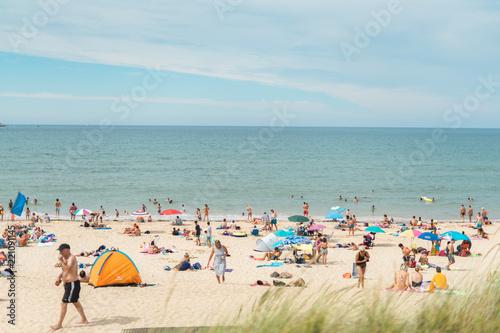 Photo sur Toile Bleu clair Vacances à l'Océan Atlantique - Plage - Santander - Somo