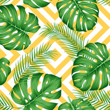 Exotic Pattern With Tropical Leaves On A Geometric Background With Yellow Rhombuses
