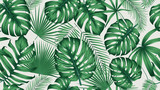 Fototapeta  - Trendy seamless tropical pattern with exotic leaves and plants jungle