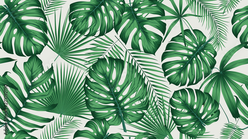 Valokuvatapetti Trendy seamless tropical pattern with exotic leaves and plants jungle