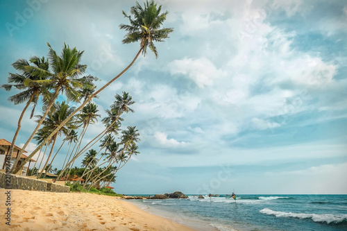 Spoed Foto op Canvas Asia land Beautiful sea cost view. Indian ocean costline beach with palms