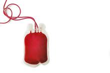 A Bag Of Human Blood Isolated On White Background. Blood Donation Concept.