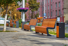 The Beautiful Sunny Cityscape With Four Benches On The Sidewalk. Russia, Rostov-on-Don