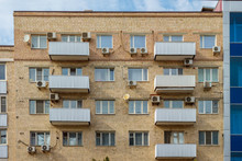 The Gray Brick Facade Of The Standard-type Apartments. Russia, Rostov-on-Don