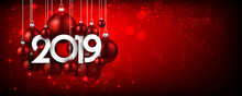 Red Festive 2019 New Year Banner With Christmas Balls.
