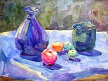 Still Life Art Vase Apple Watercolor Painting Illustration Design