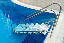 Metal Ladder Pool. Made Of Stainless Steel
