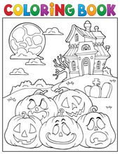 Coloring Book Halloween Pumpki...