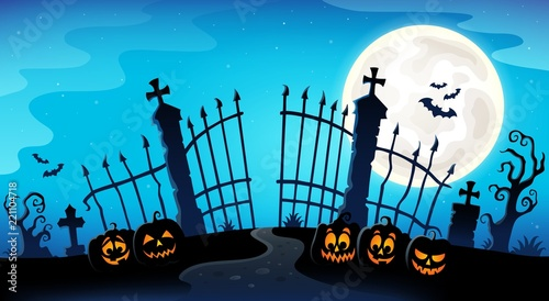 Cemetery gate silhouette theme 8