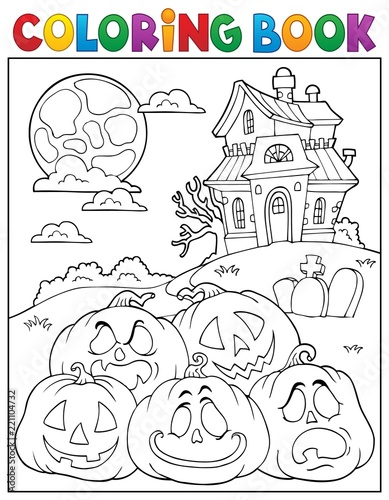 Coloring book Halloween pumpkins pile 2