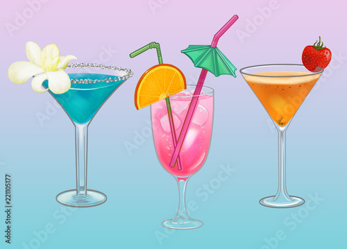 Spoed Foto op Canvas Cocktail Tropical beach party cocktail illustration