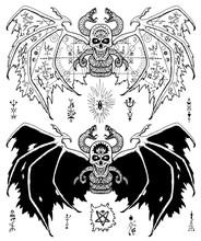Design Set With Winged Evil De...