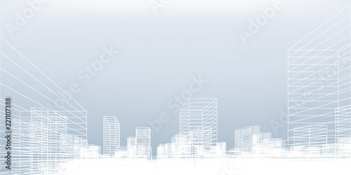 Fotografie, Obraz  Abstract wireframe city background