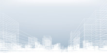 Abstract Wireframe City Background. Perspective 3D Render Of Building Wireframe. Vector.