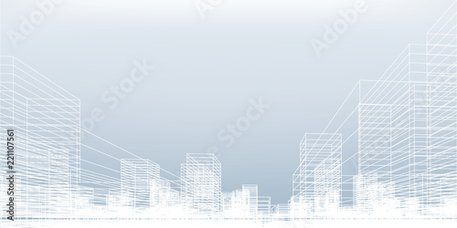 Abstract wireframe city background Fototapeta