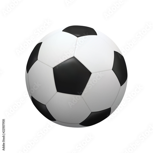 Valokuvatapetti Realistic soccer football ball on white background. Vector.