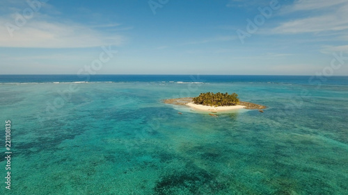 Deurstickers Tropical strand Aerial view of beautiful tropical island Guyam with white sand beach. View of a nice tropical beach from the air. Seascape: Ocean and beautiful beach paradise. Philippines. 4K video. Travel concept