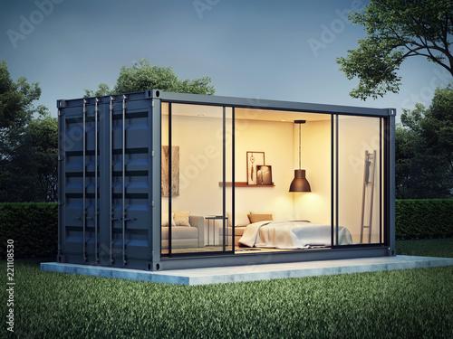 Fotografia Container house exterior, 3D render