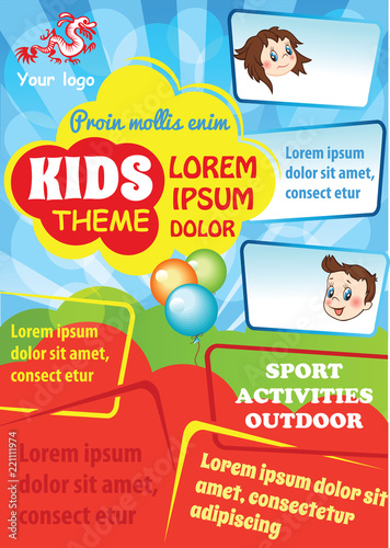 Kid advertising template with space for text. Colorful vector flyer design. Kid education theme. School poster layout