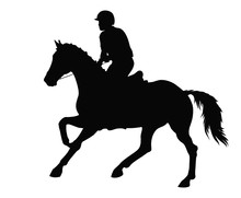 A Silhouette Of A Horseman Rides At A Gallop On Horseback.