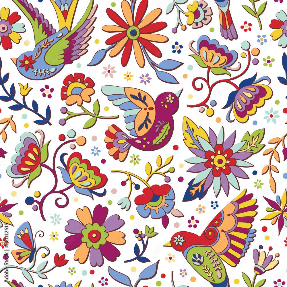 Otomi folk background seamless pattern.