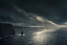 Cliffs Of Moher At Sunset With Hurricane Ophelia Approaching, Doolin, Clare, Ireland