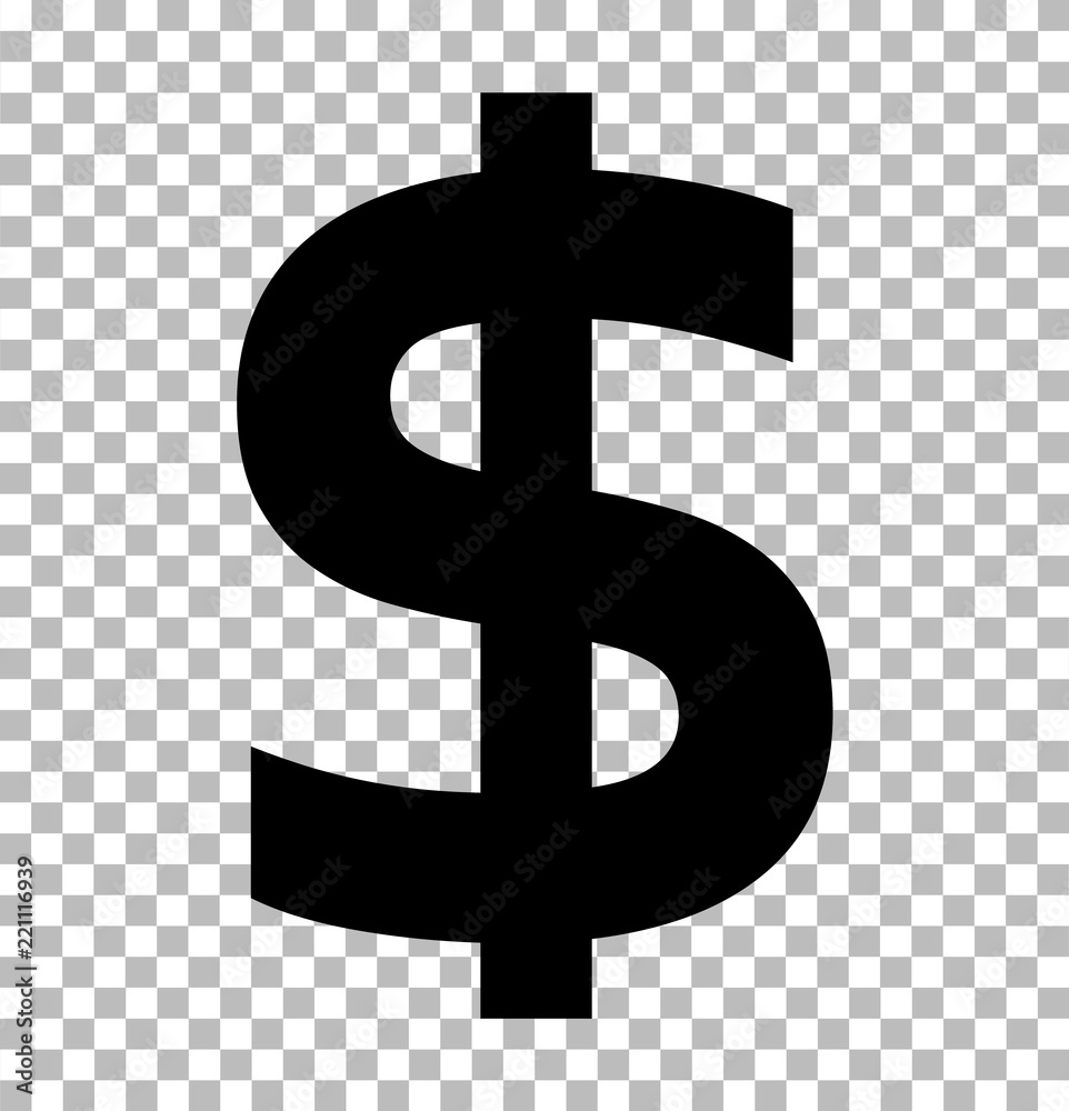 Fototapety, obrazy: dollar sign isolated on transparent background. dollar icon for your web site design, logo, app, UI. flat style. dollar symbol. us dollar sign.