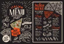 Pizza Restaurant Menu On Black...
