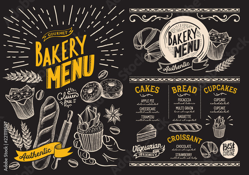 Bakery menu for restaurant. Design template on blackboard with food hand-drawn graphic illustrations. Vector food flyer for bar and cafe.