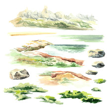 Landscape Elements. Watercolor Hand Drawn Illustration, Isolated On White Background