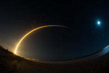 SpaceX's 50th Falcon 9 Rocket Launches From Cape Canaveral, Florida, As Moon Looks On